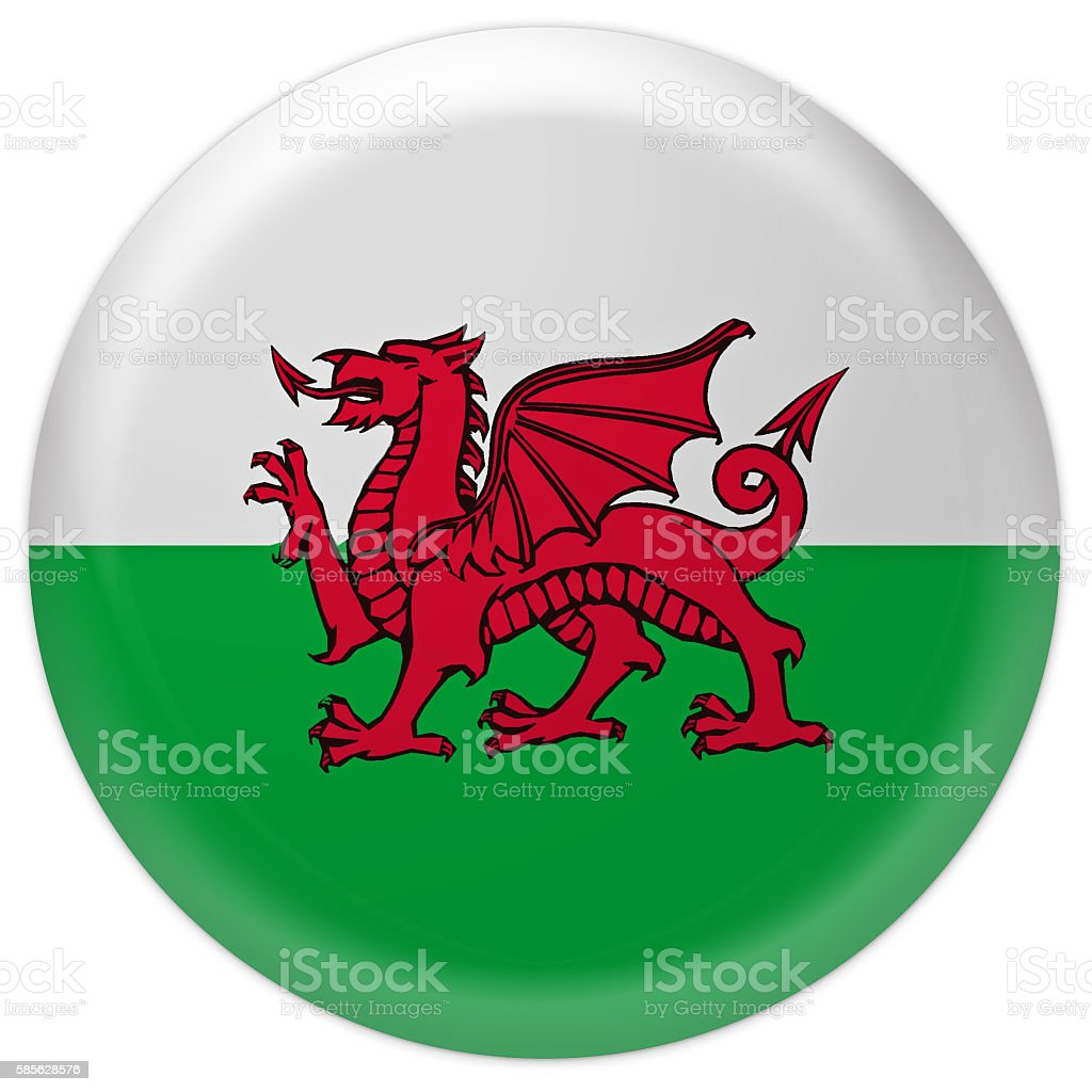 Glossy Badge Flag of Wales, 3d illustration stock photo