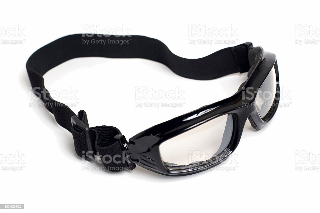 Glossy black goggles stock photo