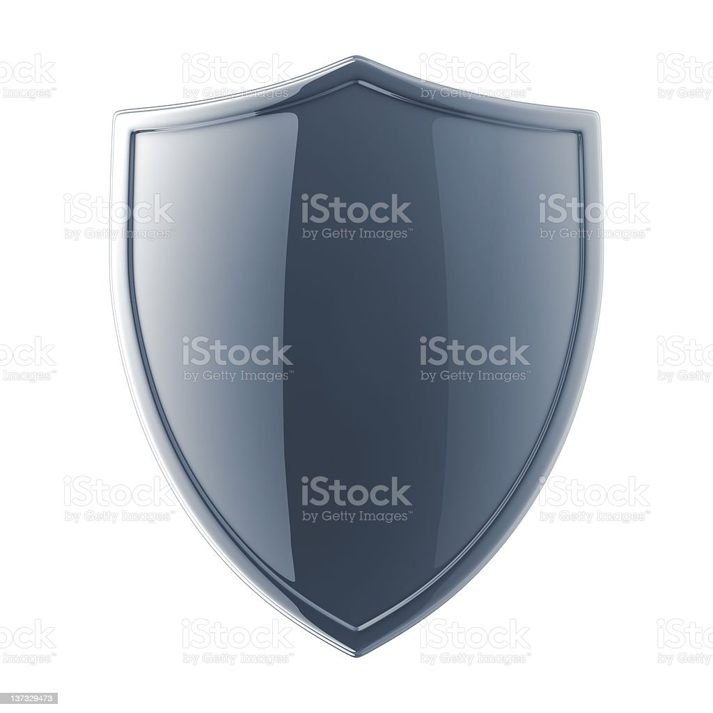 Glossy black shield on a white background stock photo