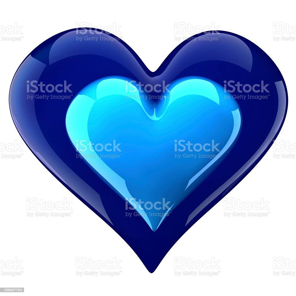 glossy blue heart inside heart stock photo