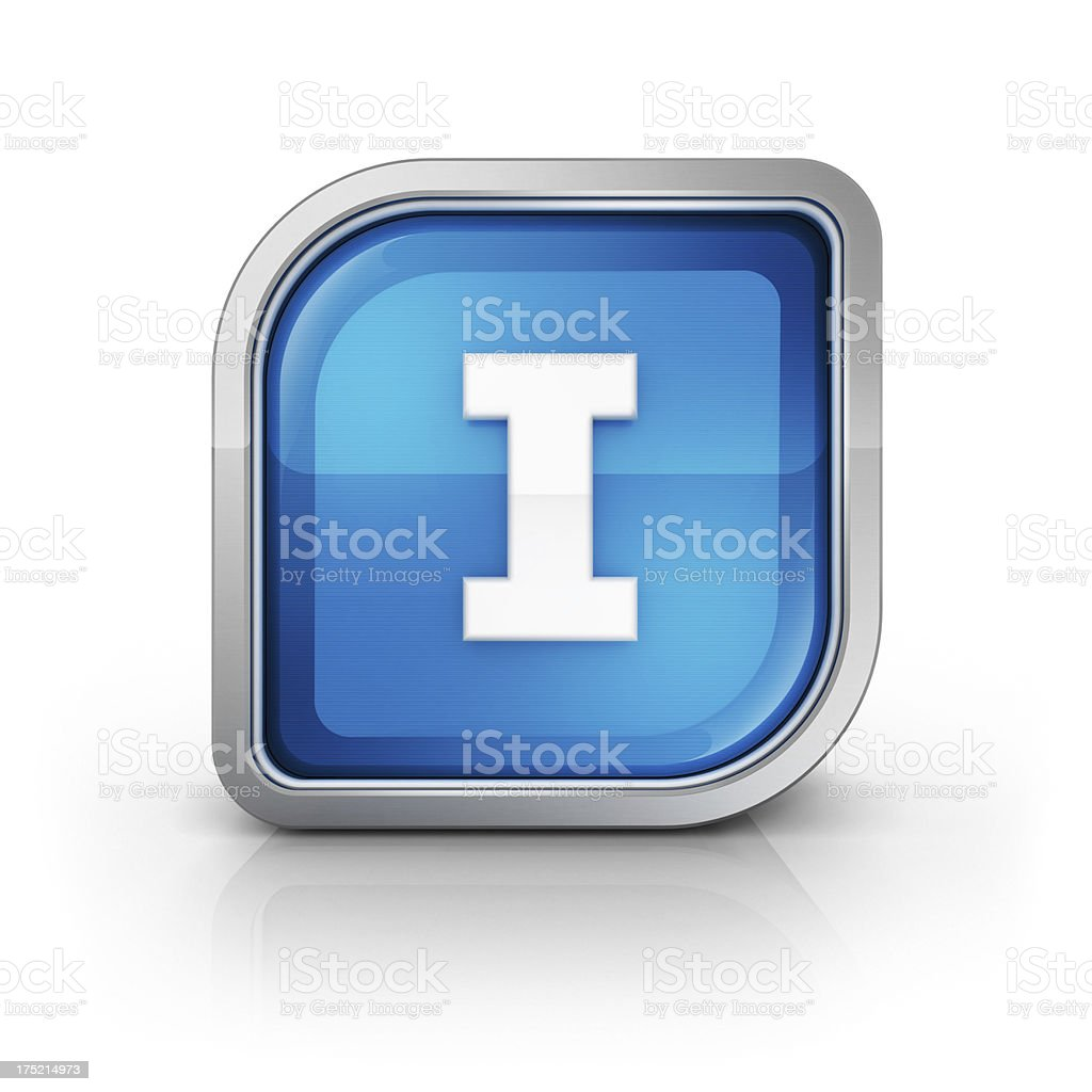 Glossy blue letter I 3d icon royalty-free stock photo