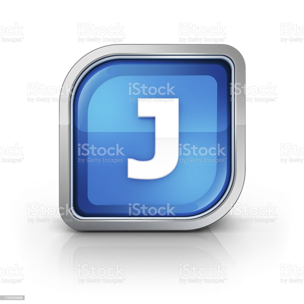 Glossy blue letter J 3d icon royalty-free stock photo