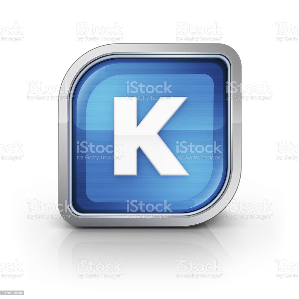 Glossy blue letter K 3d icon royalty-free stock photo