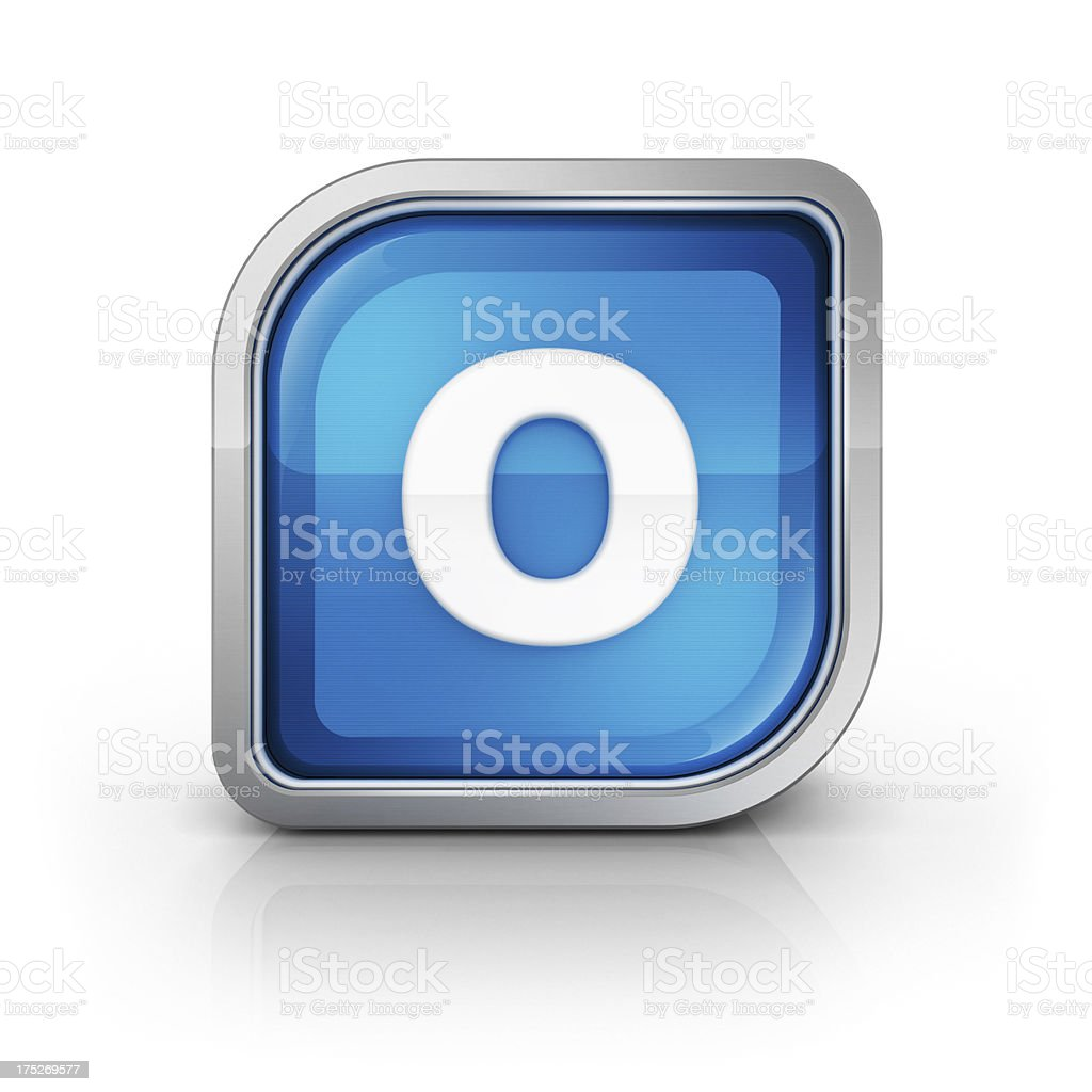 Glossy blue letter O 3d icon royalty-free stock photo