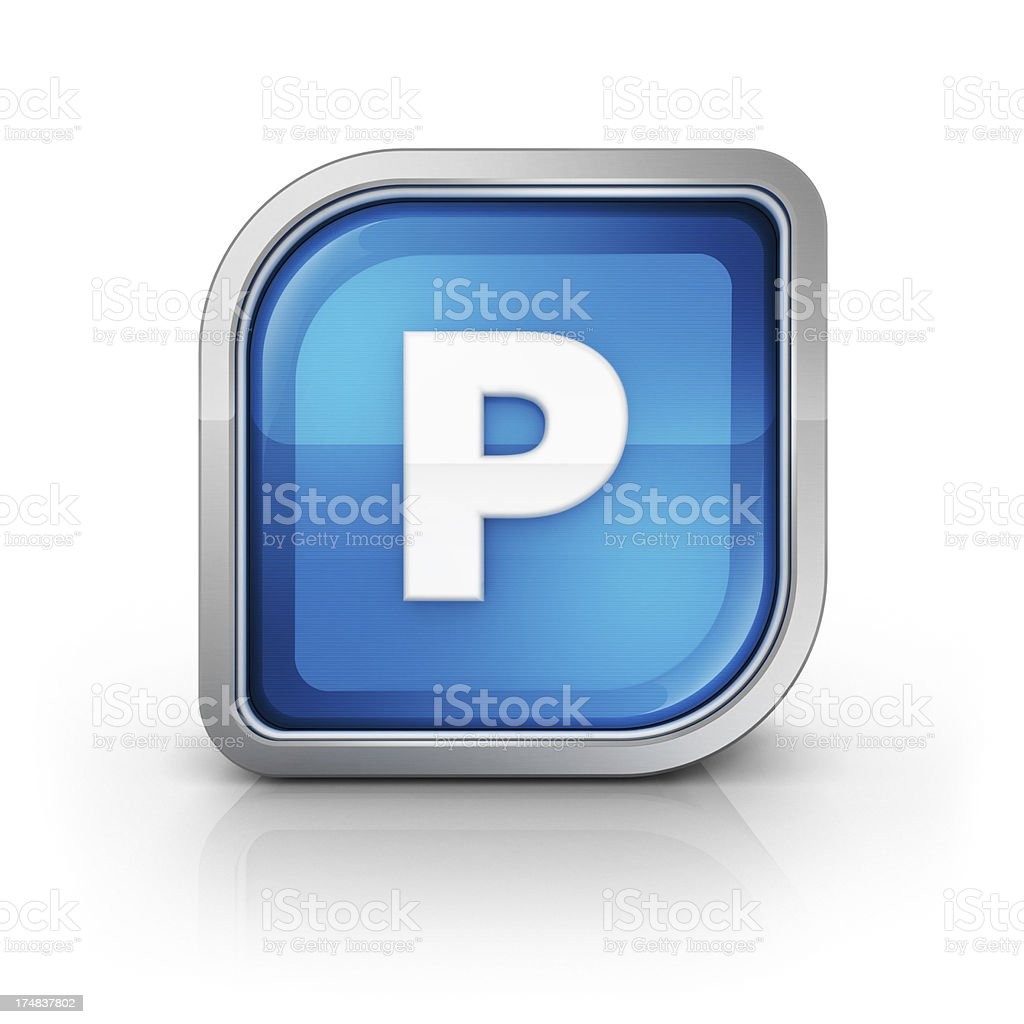 Glossy blue letter P 3d icon royalty-free stock photo