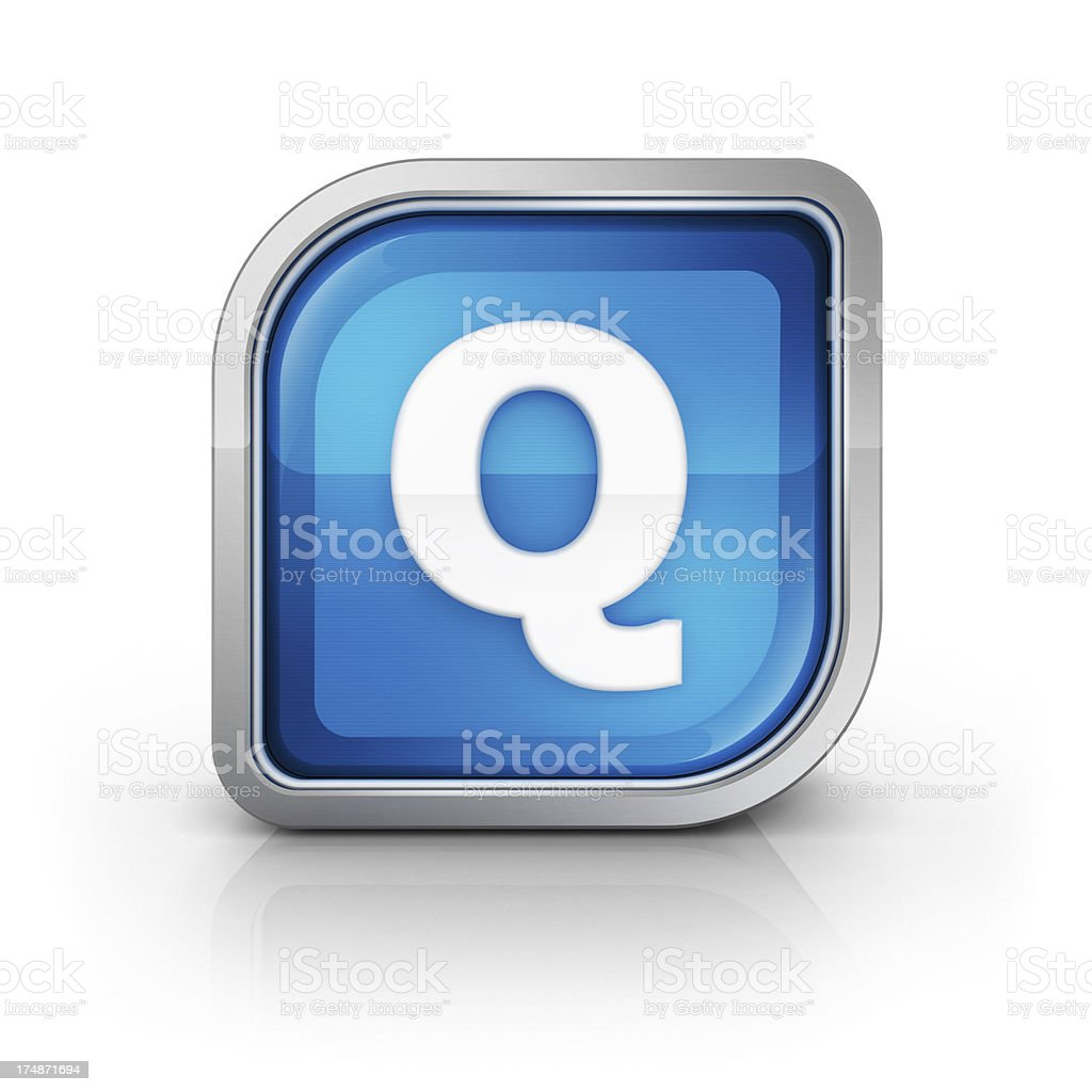 Glossy blue letter Q 3d icon royalty-free stock photo