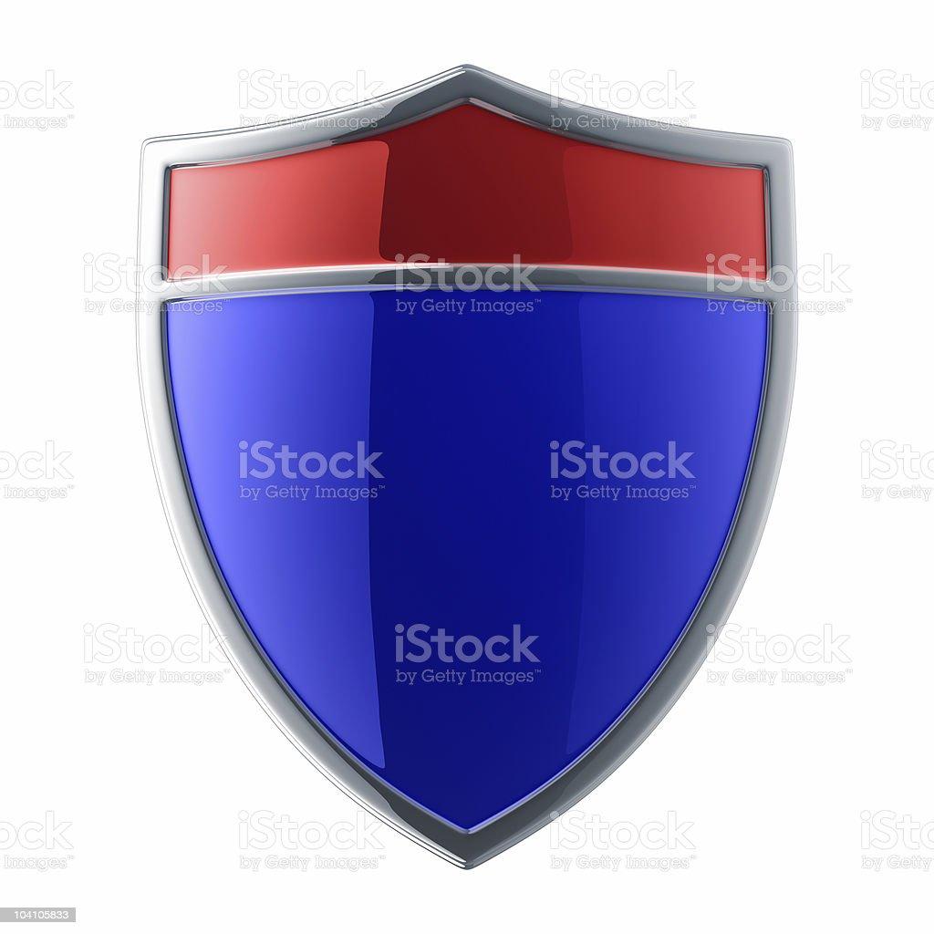 Glossy blue shield royalty-free stock photo