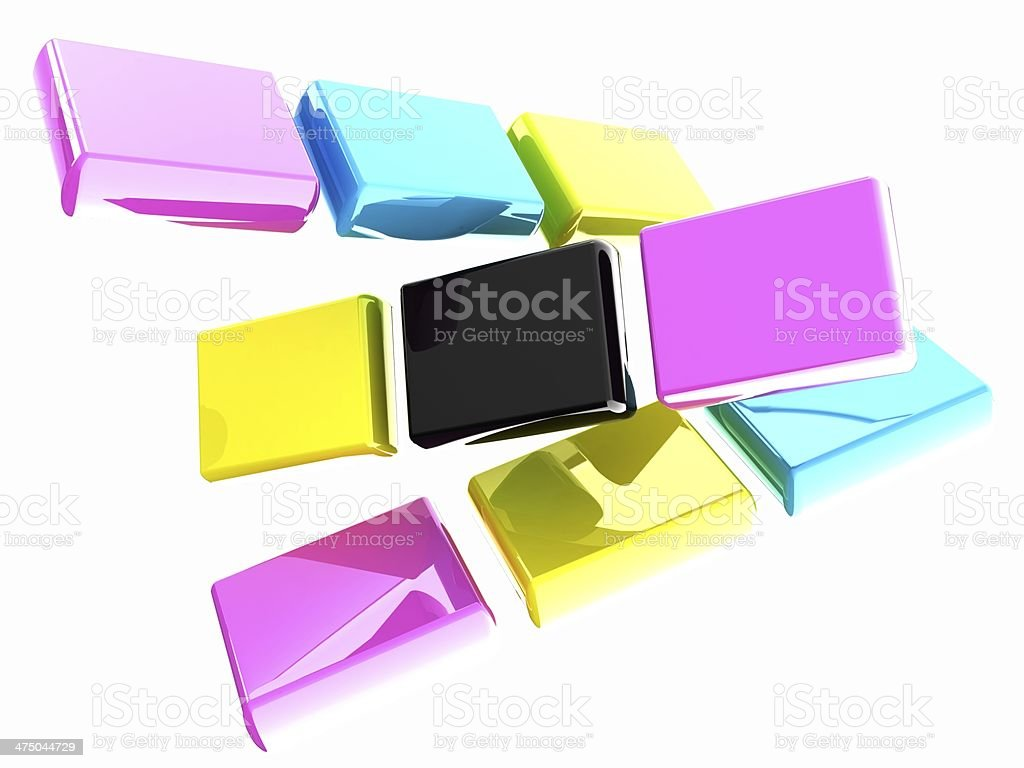 Glossy CMYK cubes on white stock photo