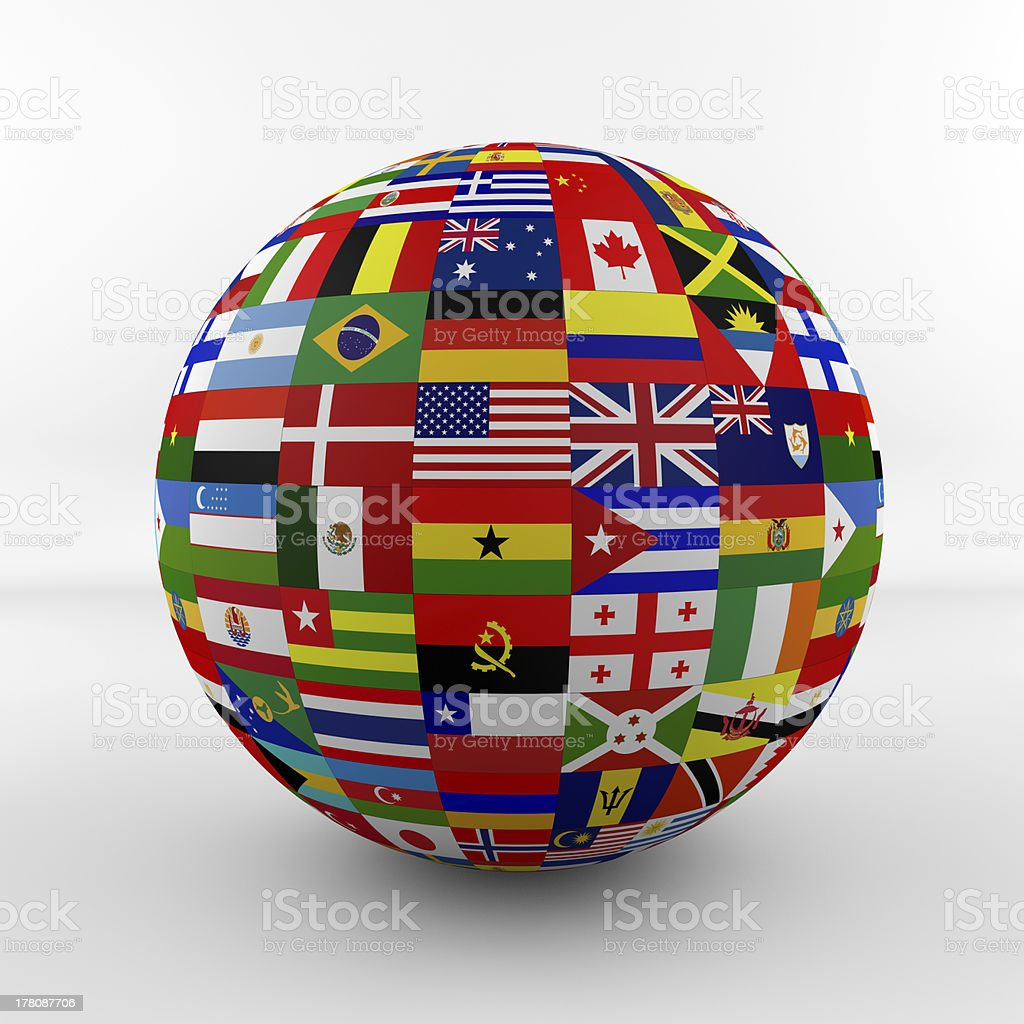 Glossy Flag Globe with different country flags royalty-free stock photo