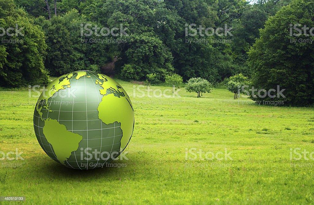 glossy globe in a green prairie stock photo