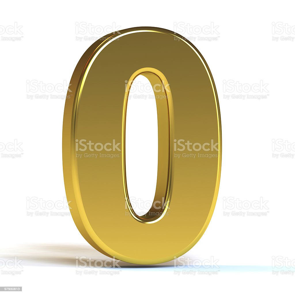 Glossy golden 3D zero number with shadow on white royalty-free stock photo