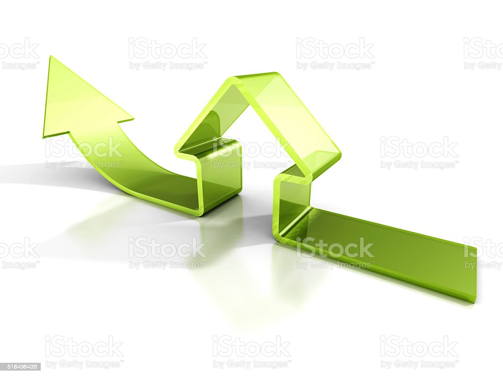 Glossy Green House Icon With Rising Arrow. Real Estate Concept stock photo