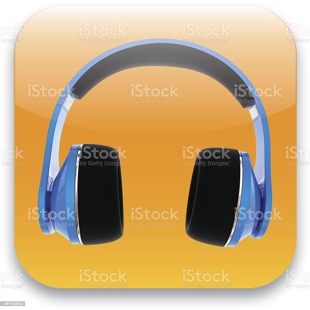 glossy headset web icon design element stock photo