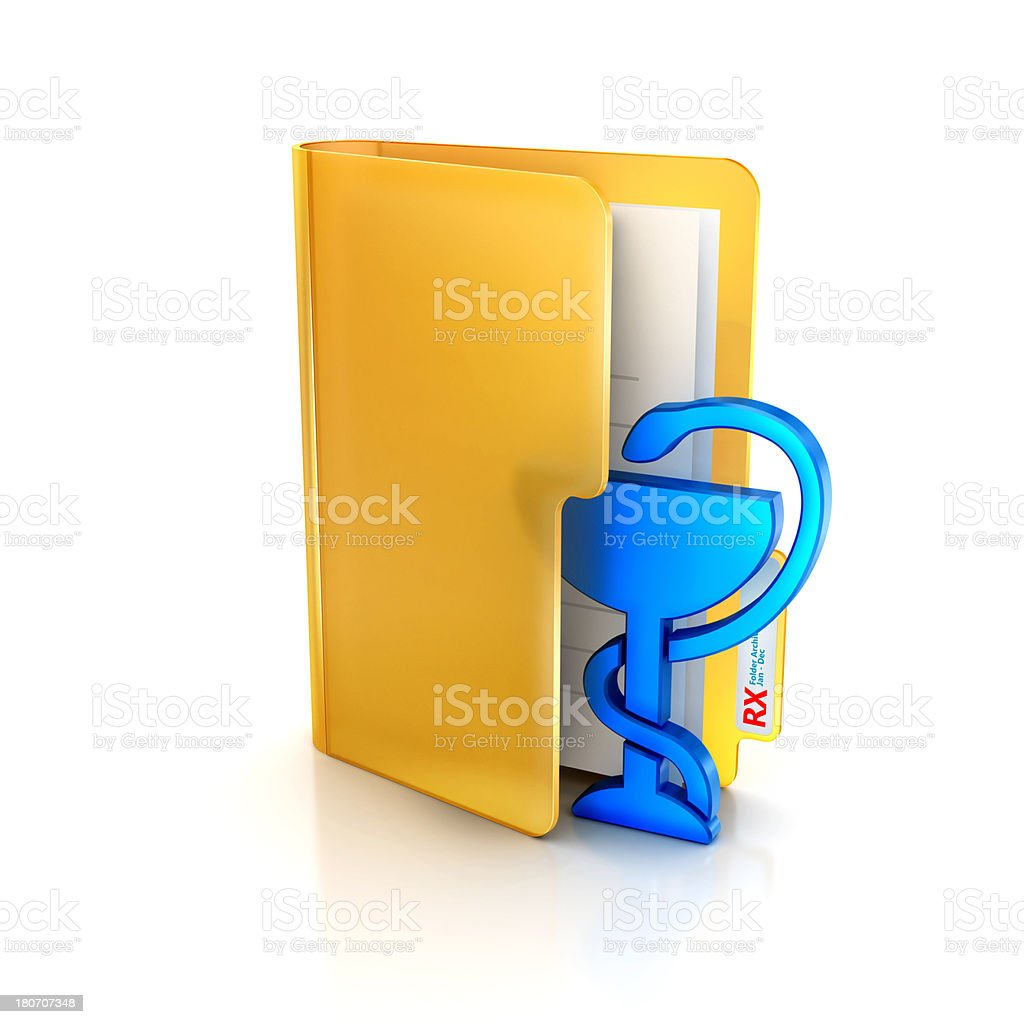 Glossy icon of folder and pharmacy rx medical record symbol stock photo