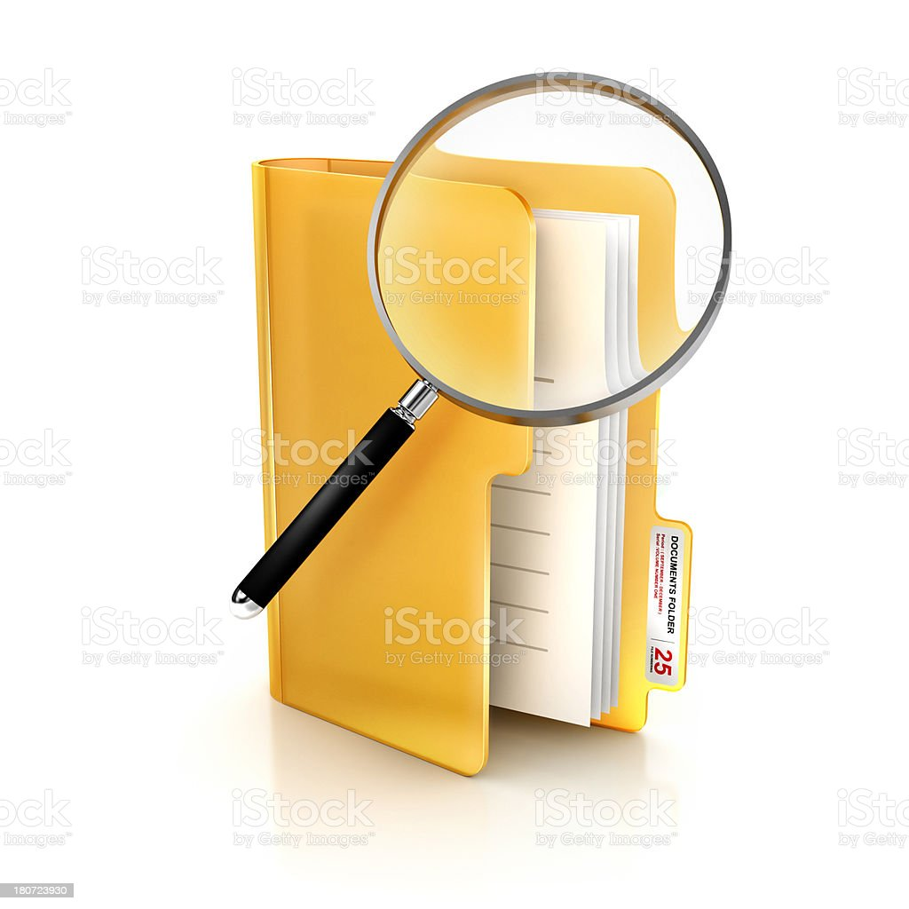 Glossy icon of search glass in folder and file Documents royalty-free stock photo