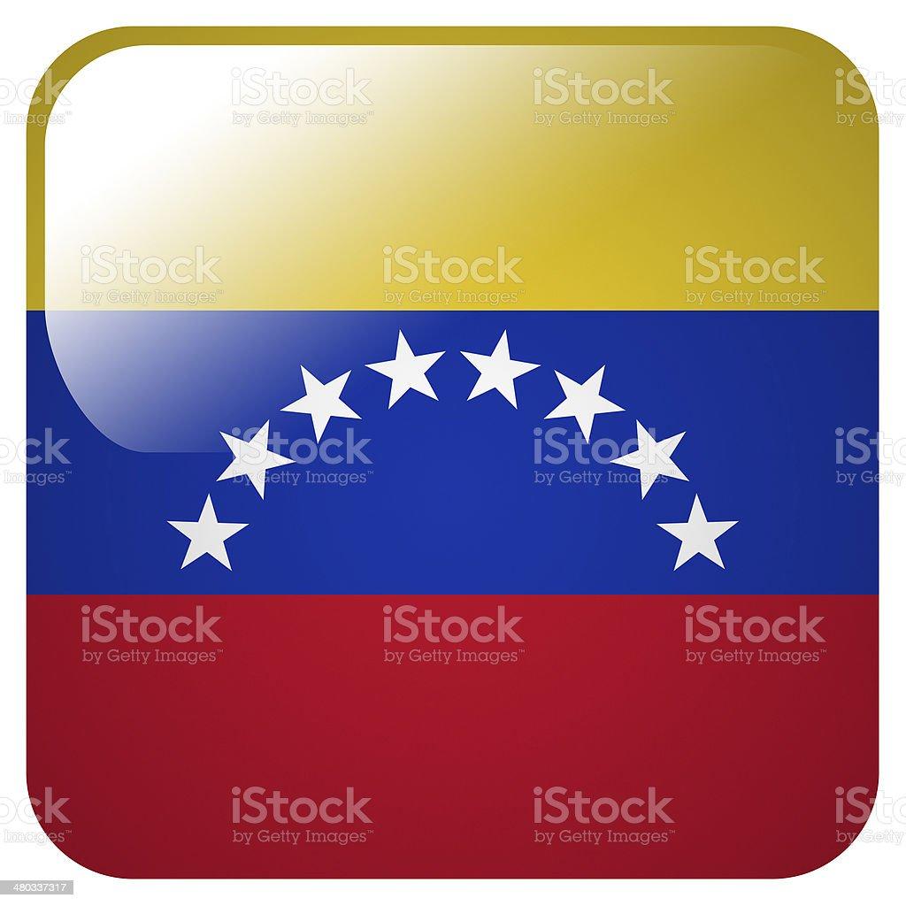 Glossy icon with flag of Venezuela stock photo