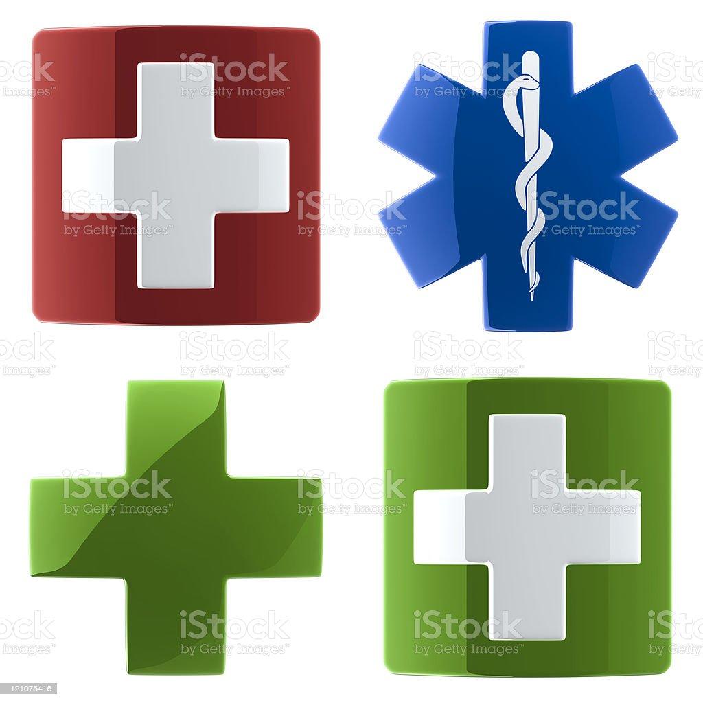 Glossy Medical Cross (4 variants) royalty-free stock photo