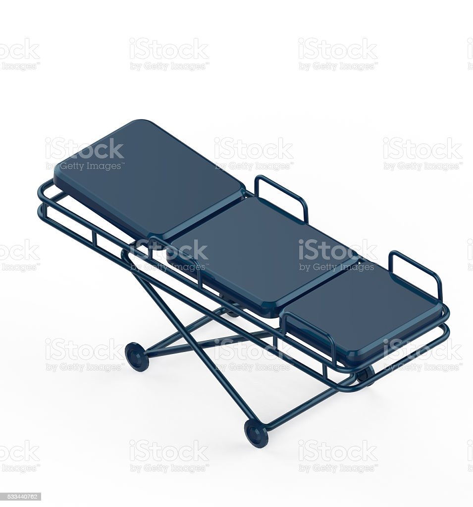 Glossy metal hospital stretcher on wheels isolated white background isometric stock photo