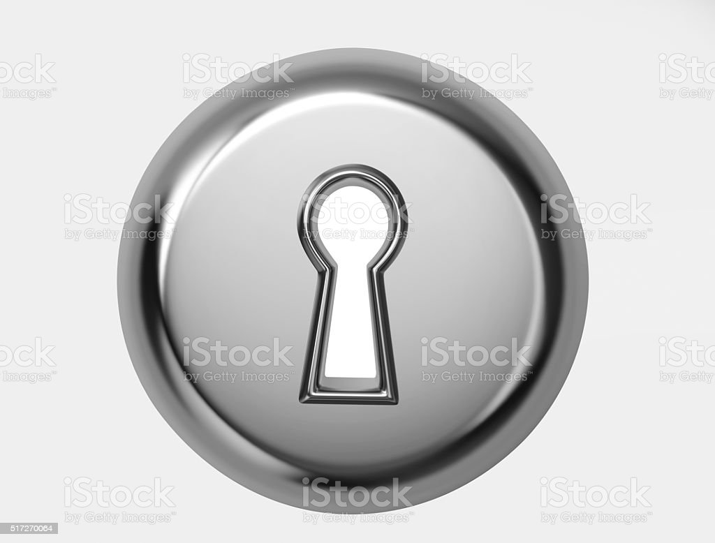 Glossy metal keyhole with clipping path stock photo