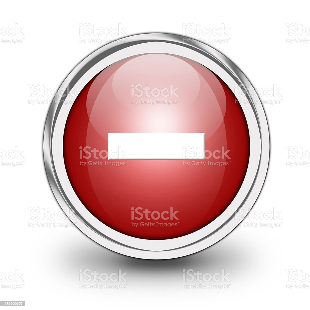 Glossy minus button stock photo
