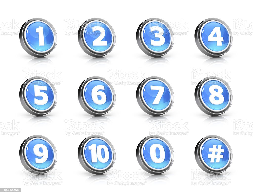 Glossy numbers icon set royalty-free stock photo
