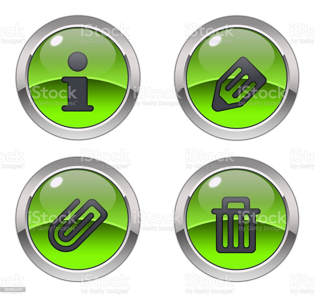 Glossy office icons - green royalty-free stock photo