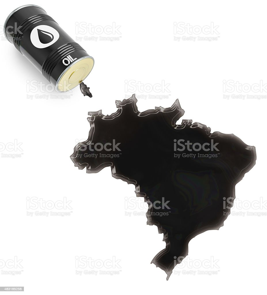 Glossy oil spill in the shape of Brazil (series) stock photo