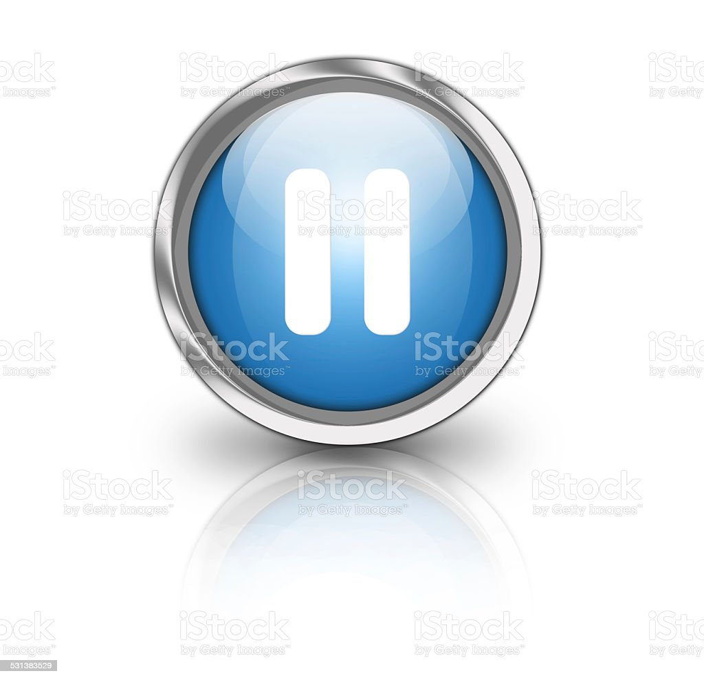 Glossy pause button stock photo