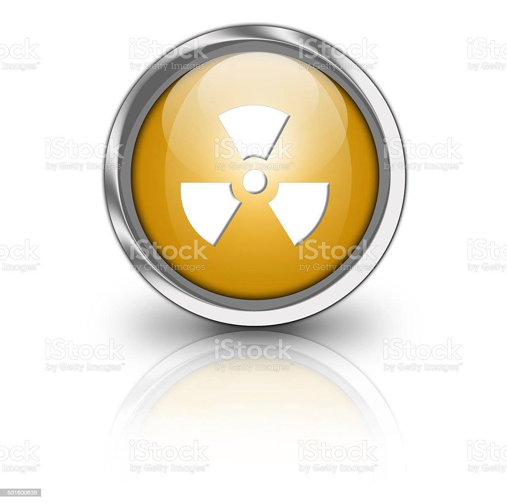 Glossy radioactive button stock photo