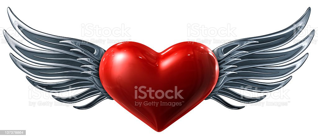 Glossy Red Heart with Silver Wings royalty-free stock photo