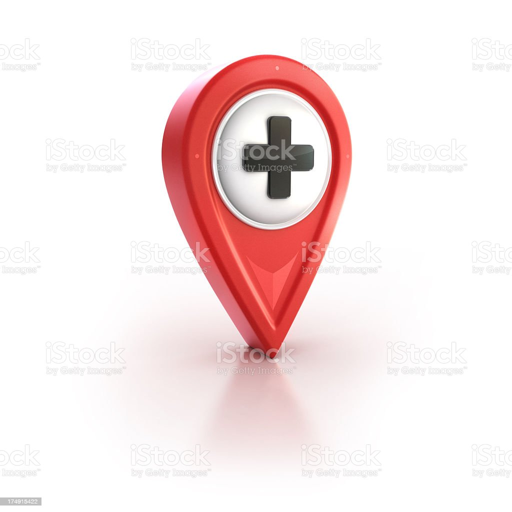 glossy red pin icon with plus or cross sign royalty-free stock photo