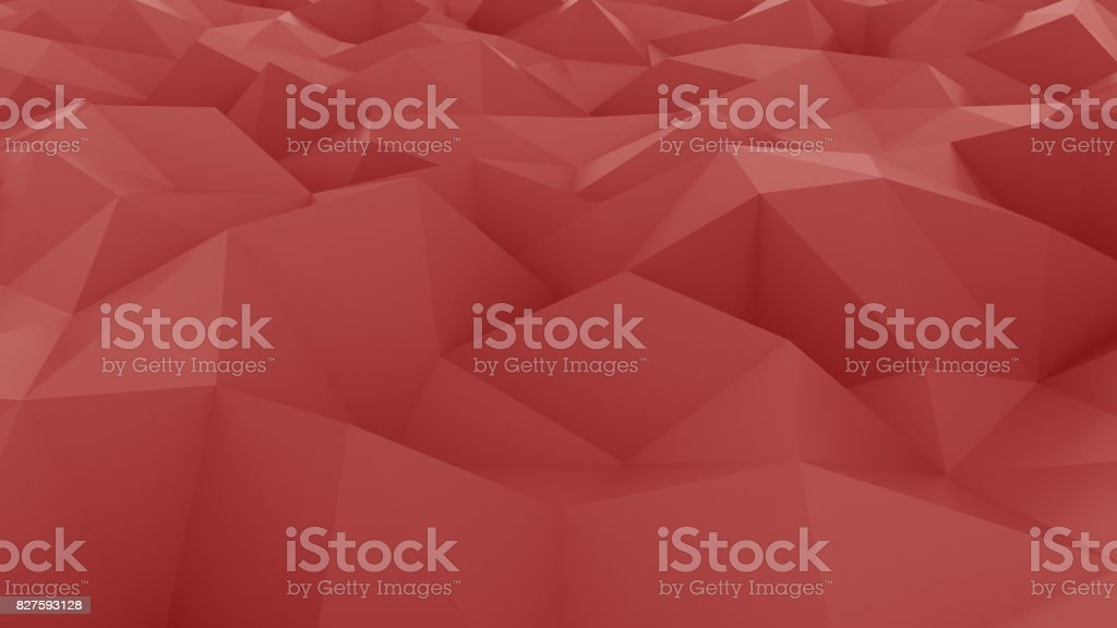Glossy red polygonal background. 3D rendering stock photo