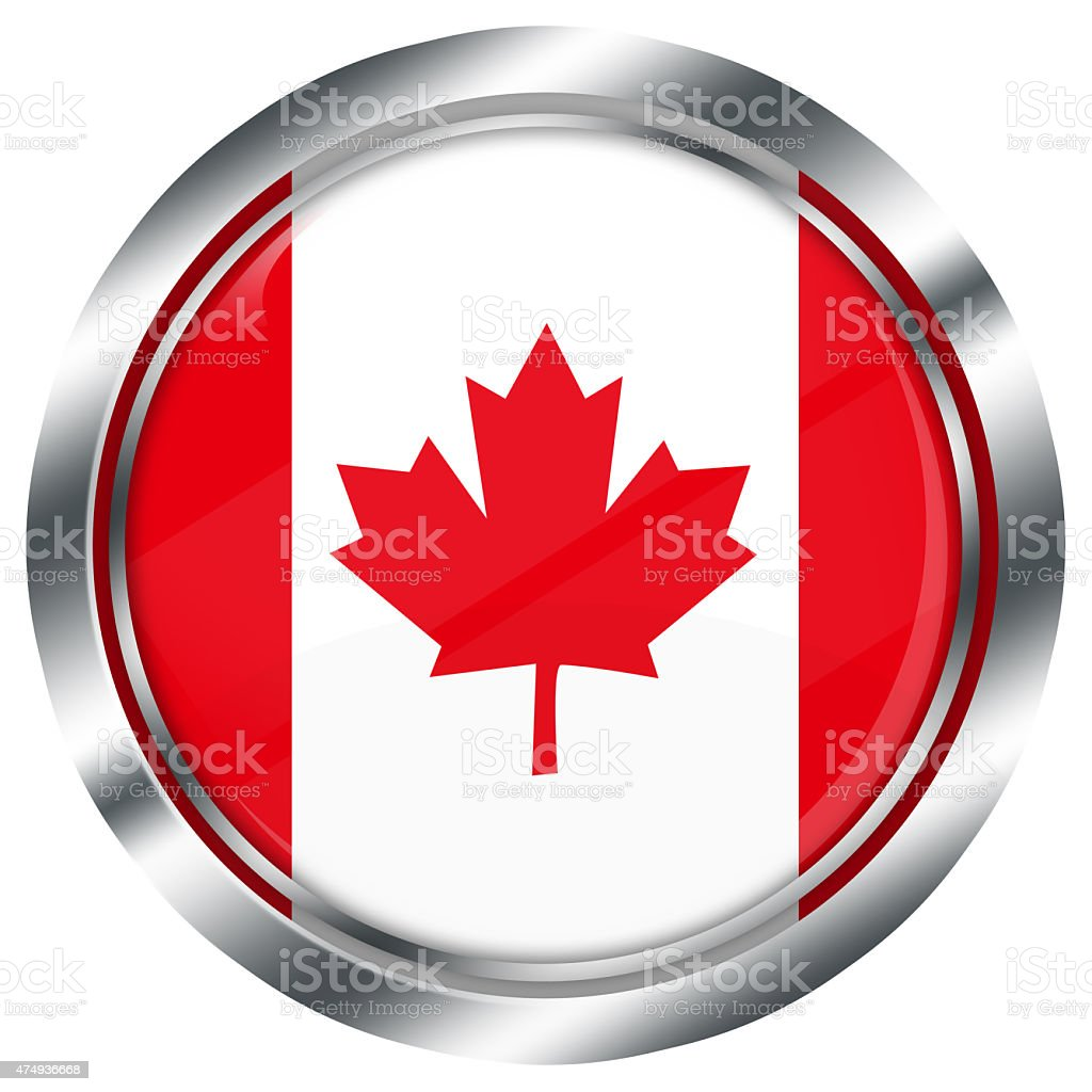 glossy round canadian flag button for web on white background, stock photo