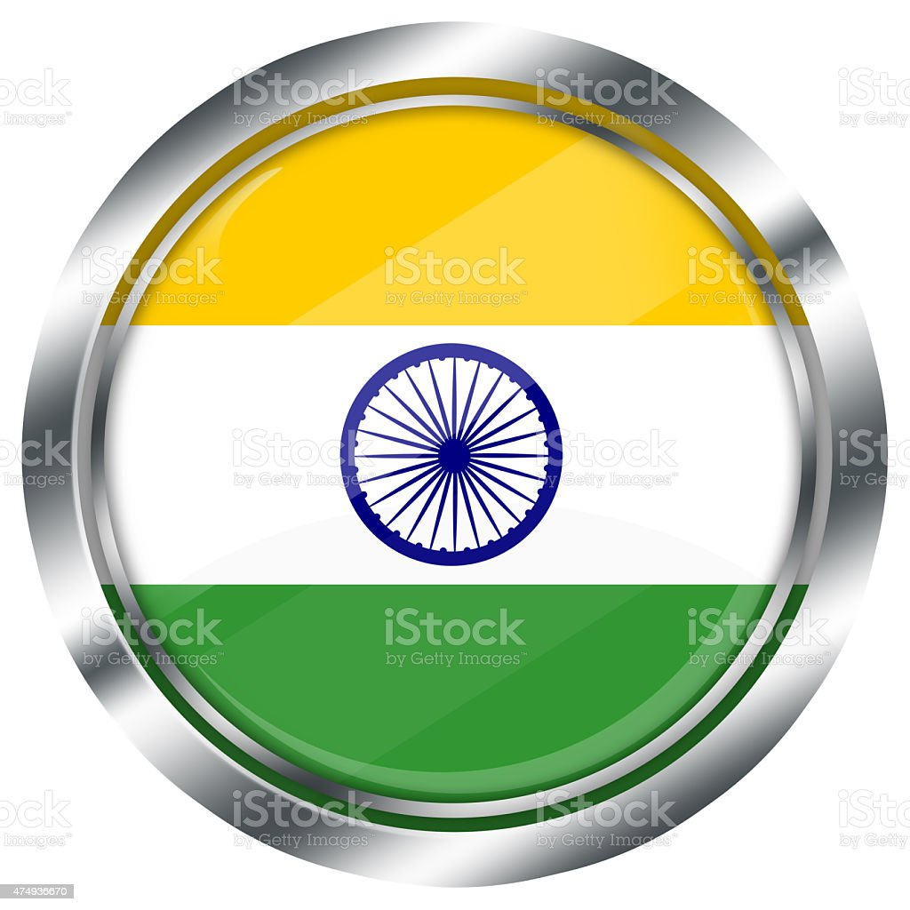 glossy round indian flag button for web on white background, stock photo