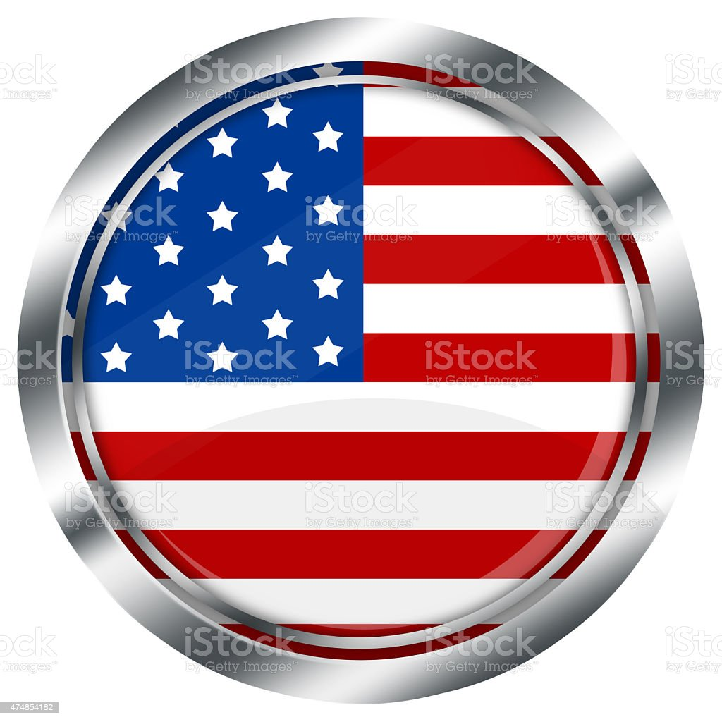 glossy round usa flag button for web on white background, stock photo
