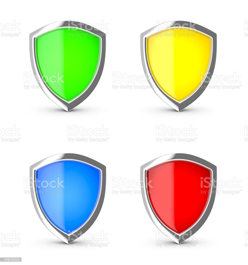 Glossy shield on a white background. royalty-free stock photo