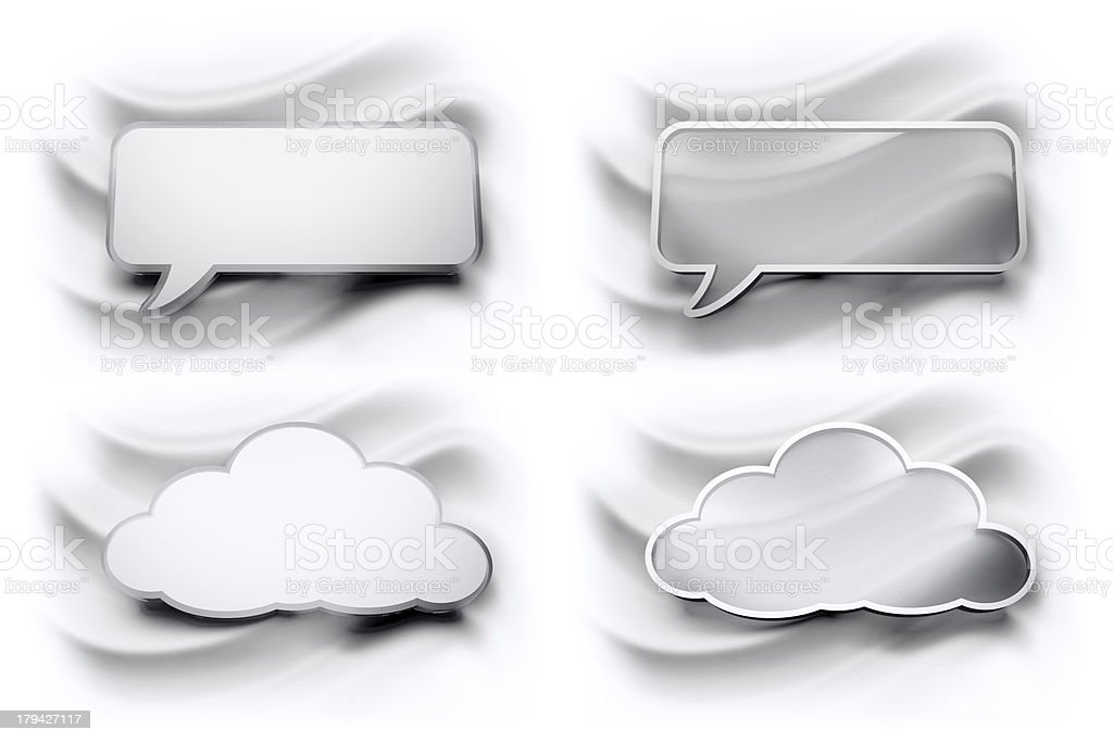 glossy speech bubbles cloud, two formats stock photo