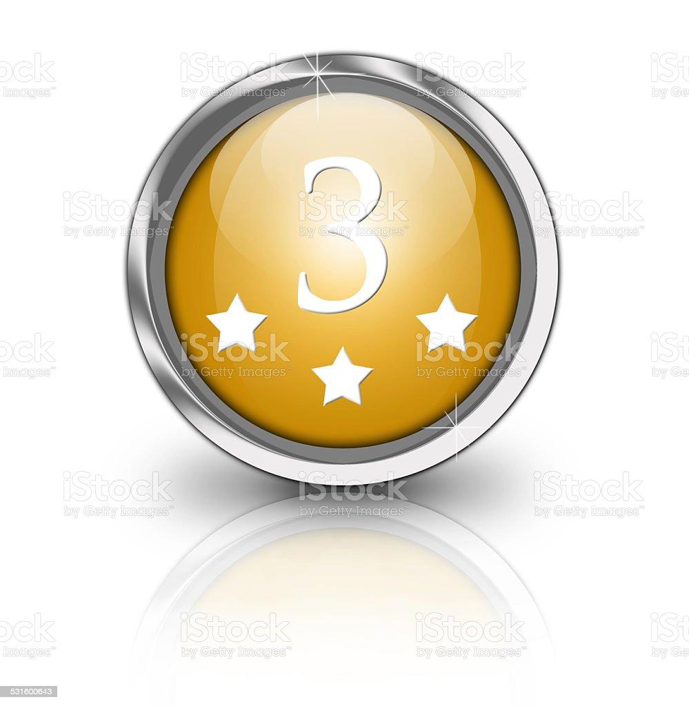 Glossy three star button stock photo