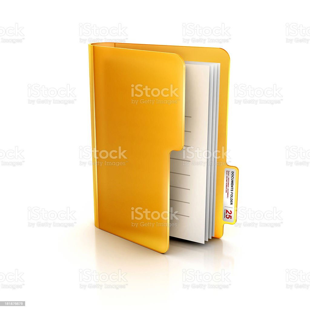 Glossy Transparent icon of folder and file Documents royalty-free stock photo