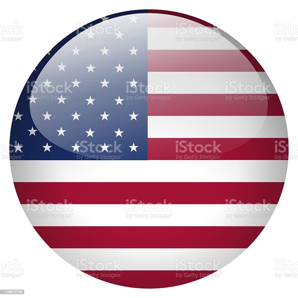 Glossy USA flag button isolated on white stock photo