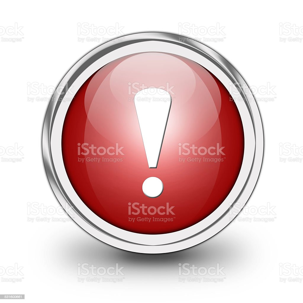 Glossy warning sign button stock photo