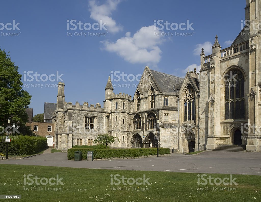 Gloucester cathedral ancilliary buildings stock photo