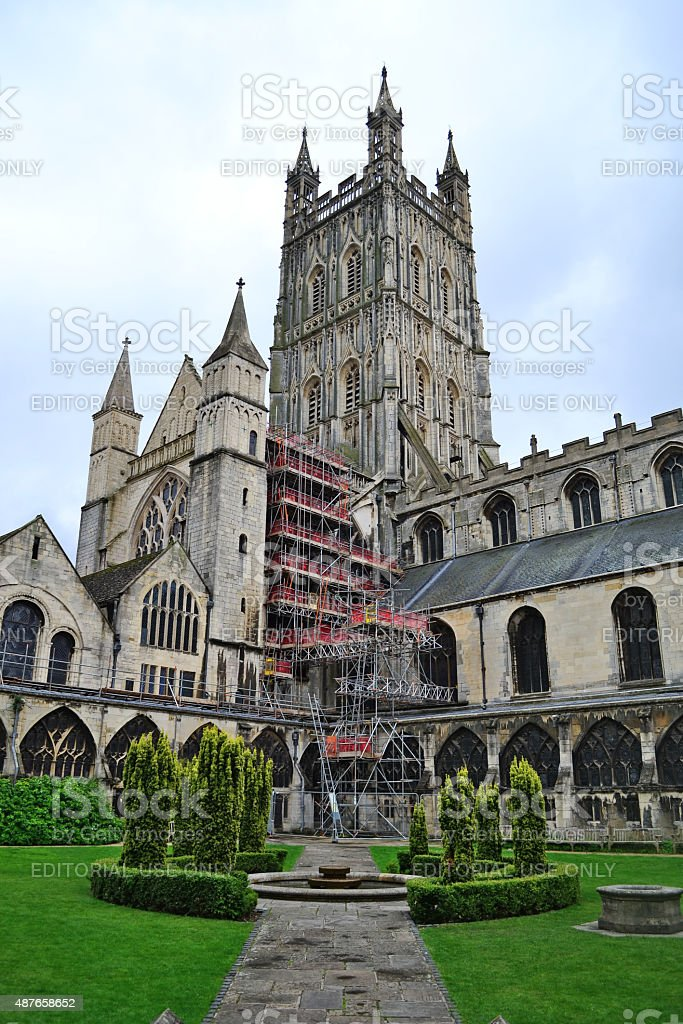 Gloucester Cathedral - garden view. stock photo