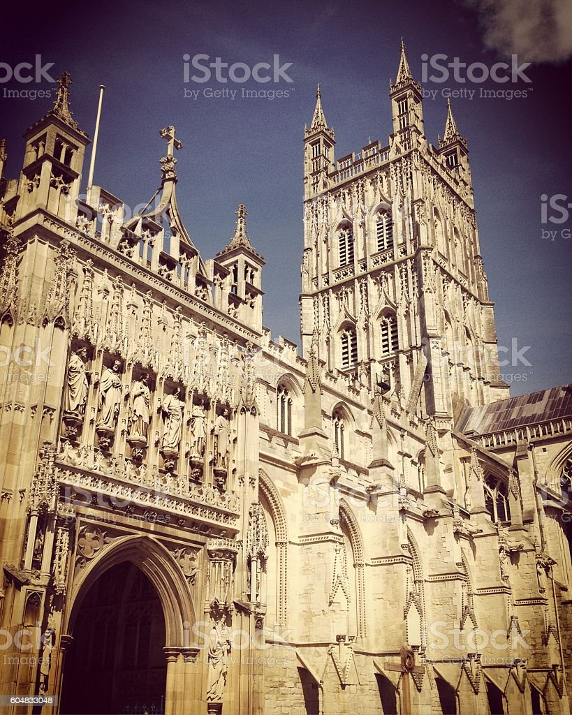 Gloucester cathedral in spring sunshine, Gloucestershire, UK stock photo