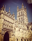 Gloucester cathedral in spring sunshine, Gloucestershire, UK