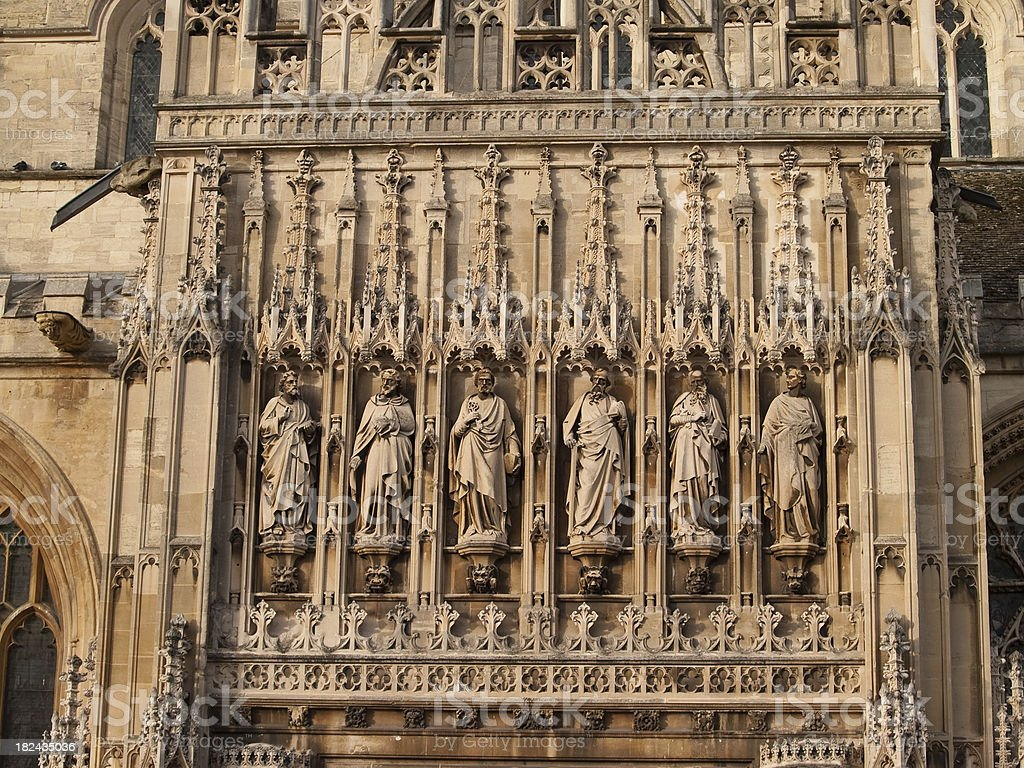 Gloucester cathedral main entrance sculpted figures stock photo