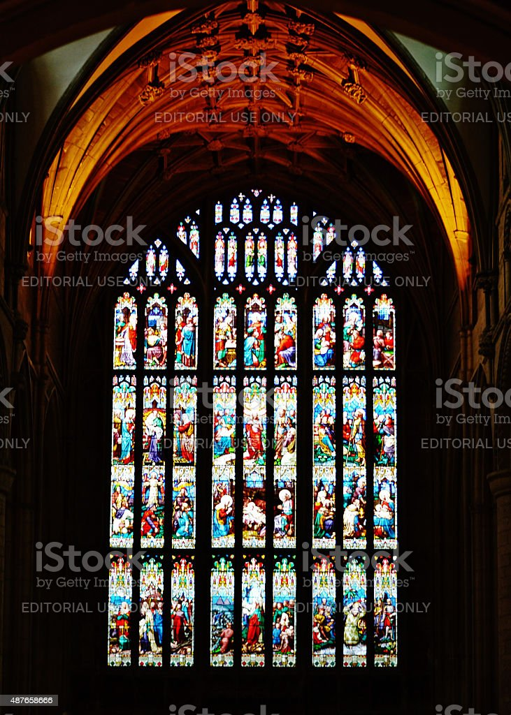 Gloucester Cathedral Stained Glass stock photo