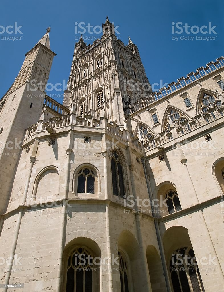 Gloucester cathedral tower looking up royalty-free stock photo