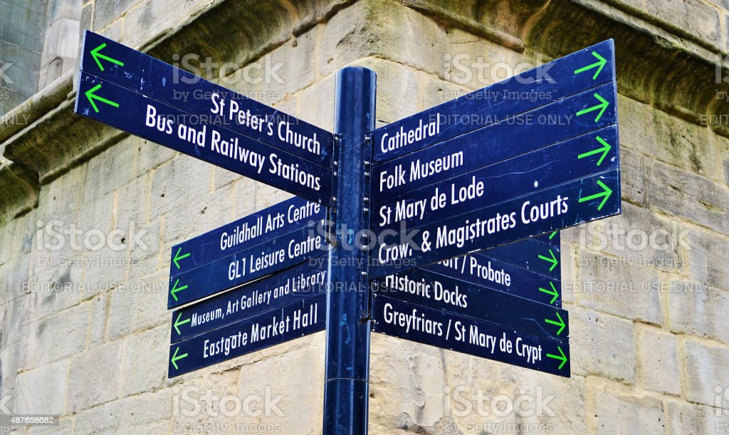 Gloucester City Centre Signpost stock photo