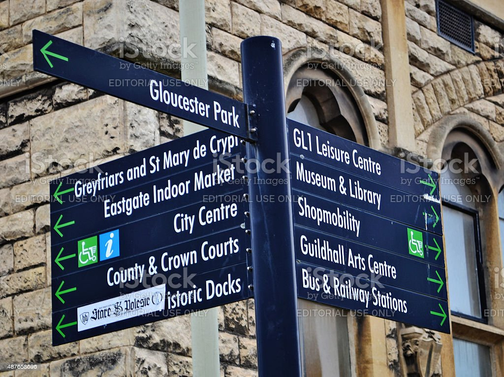 Gloucester Library Signpost stock photo